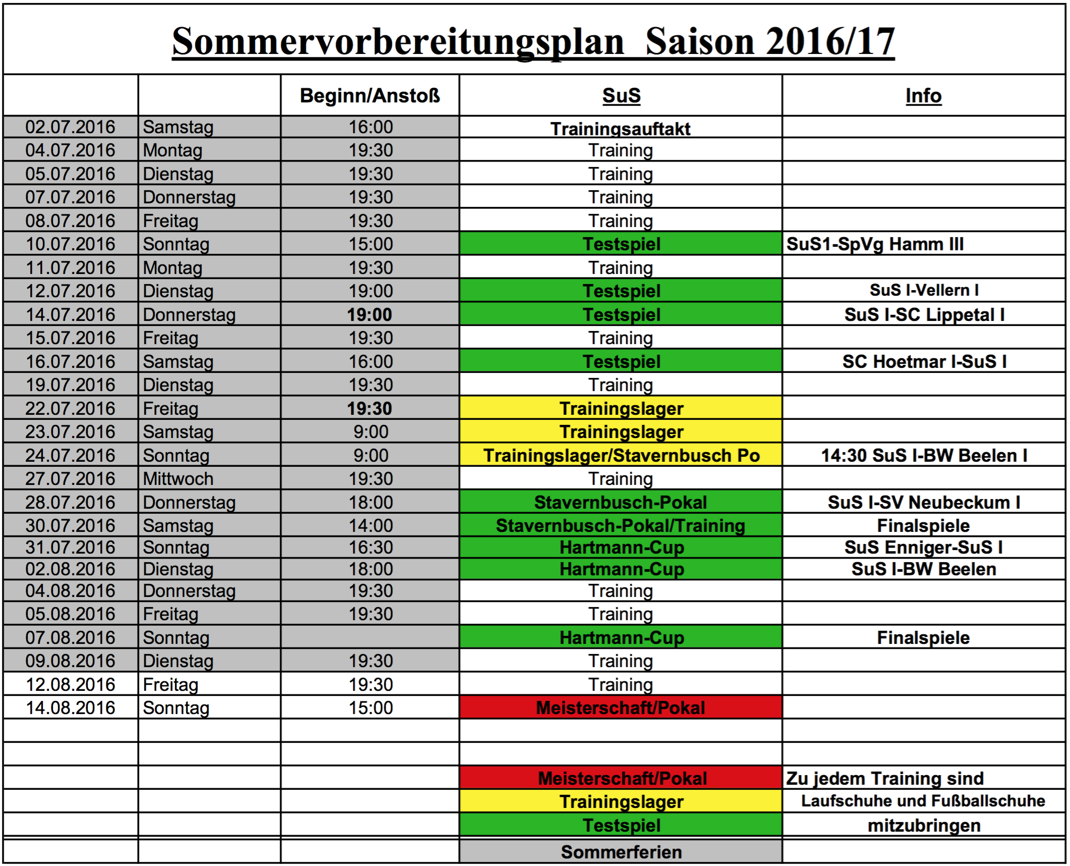 Sommervorbereitung Senioren 2016/17